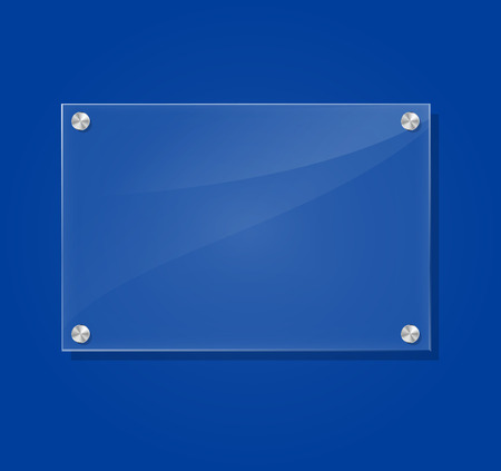 Vector illustration of transparent frame on blue background