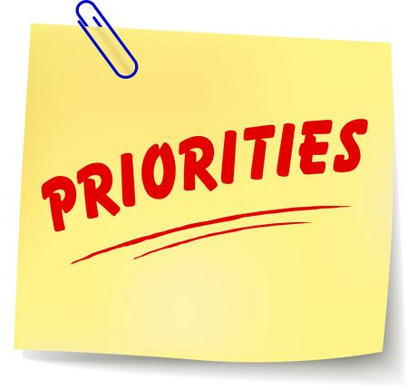 prioridades: Ilustraci�n del vector de prioridades nota amarilla sobre fondo blanco