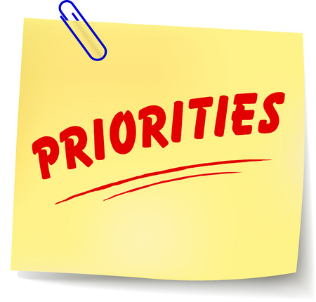 crucial: Vector illustration of priorities yellow note on white background Illustration