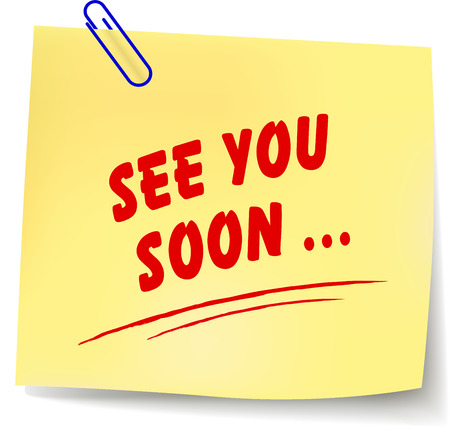 Vector illustration of see you soon yellow note on white background