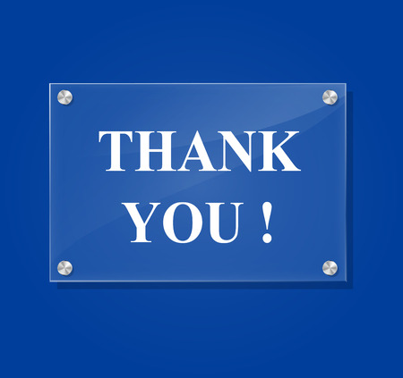 Vector illustration of transparent thank you sign on blue background Vector