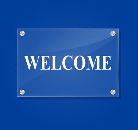 Vector illustration of transparent welcome sign on blue background