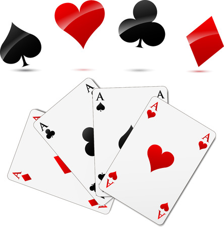 Vector illustration of casino cards elements set concept Vector