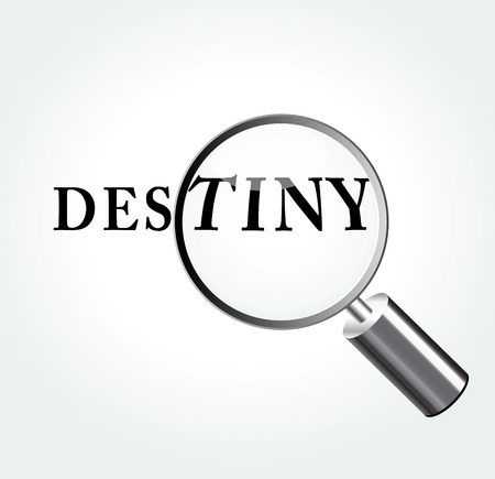 inevitability: Vector illustration of destiny abstract concept with magnifying