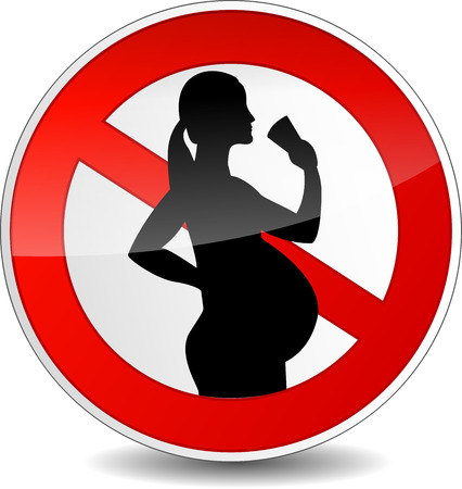 bebidas alcohÓlicas: Ilustración vectorial de signo en derredor sin alcohol para la mujer embarazada