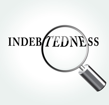 indebtedness: Illustrazione vettoriale di indebitamento concetto astratto con ingrandimento