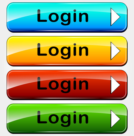 Vector illustration of login colorful buttons for web site Vector