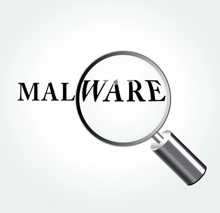 malware: Vector illustration of malware abstract concept with magnifying