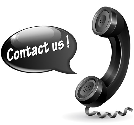 Vector illustration of black phone with speech bubble for contact us Vector