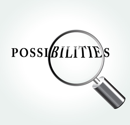 possibilities: Vector illustration of possibilities abstract concept with magnifying