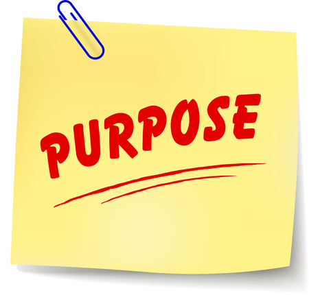purpose: Vector illustration of purpose yellow note on white background