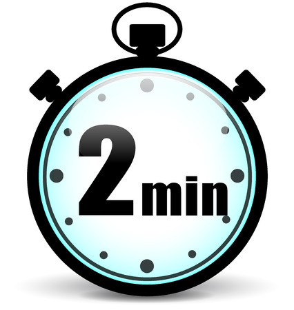 timer: Vector illustration of two minutes stopwatch icon on white background