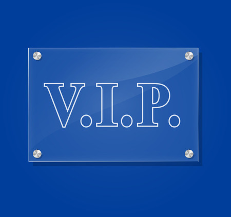 glass door: Vector illustration of transparent vip sign on blue background