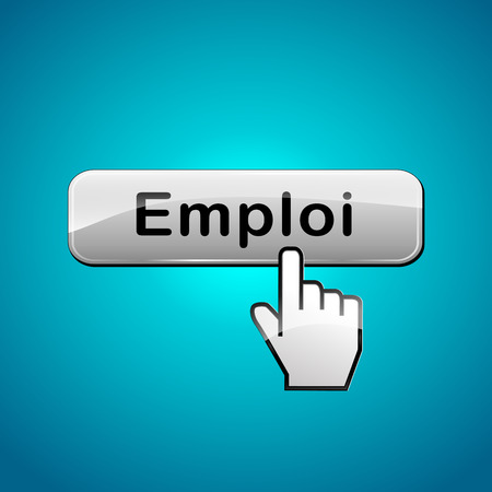 French translation for job web button concept Vector