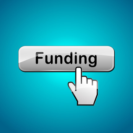 raise the thumb: Vector illustration of funding abstract concept web button