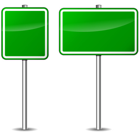 Vector illustration of green blank signs on white background Vector