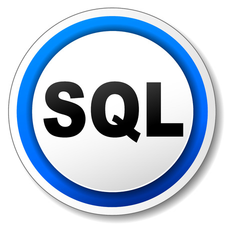 sql: Vector illustration of sql white and blue round icon