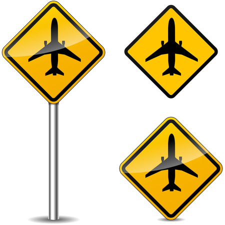 Vector illustration of airplane yellow signs on white background Vector