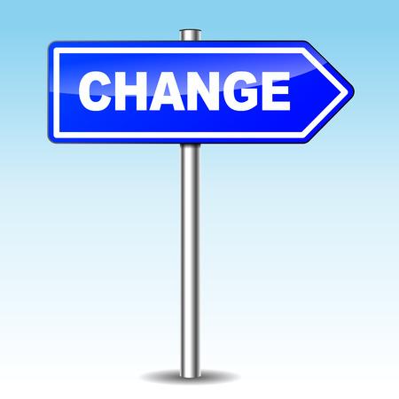 adapting: Vector illustration of blue change sign on sky background Illustration
