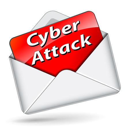cyber attack: Vector illustration of cyber attack mail concept on white background