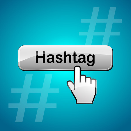 tweets: Vector illustration of hashtag abstract concept web button