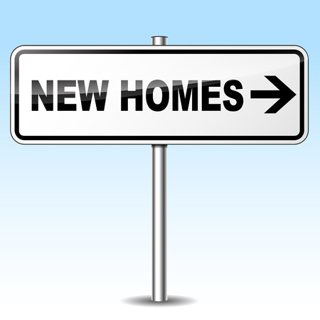 new homes: Vector illustration of new homes directional metal signpost concept