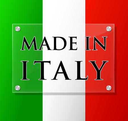 bandiera italiana: Illustrazione vettoriale di trasparente realizzato in Italia segno Vettoriali