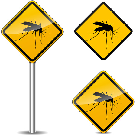 dengue fever: Vector illustration of mosquito yellow signs on white background