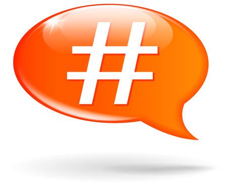tweet balloon: Vector illustration of hashtag orange speech bubble on white background Illustration