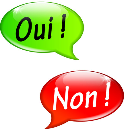 French translation for yes and no speech bubbles Vector