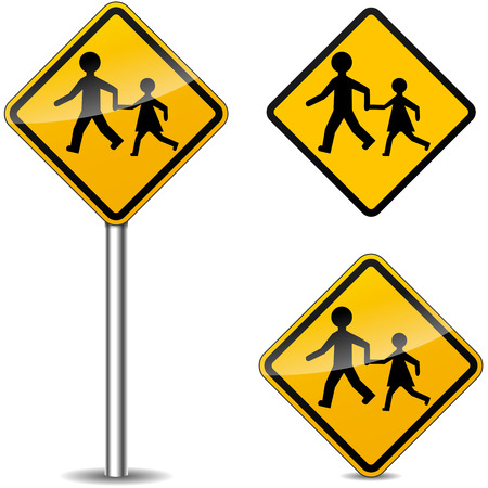 caution sign: Vector illustration of pedestrians yellow signs on white background