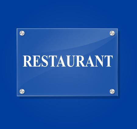 Vector illustration of transparent restaurant sign on blue background Vector