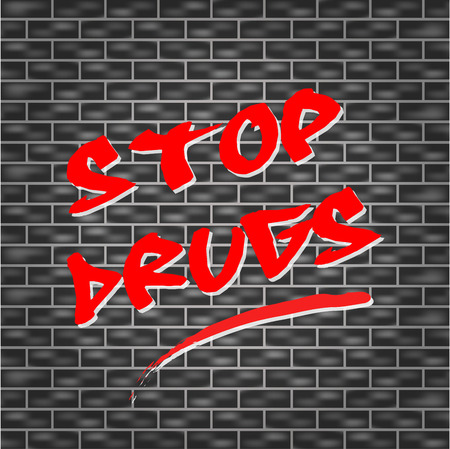 tagged: Vector illustration of stop drugs tagged wall concept Illustration