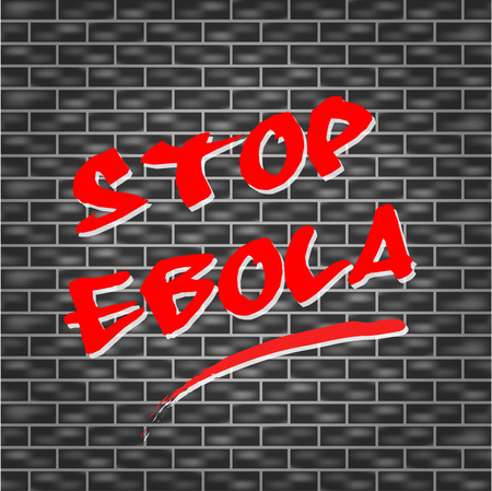 Vector illustration of stop ebola tagged wall concept