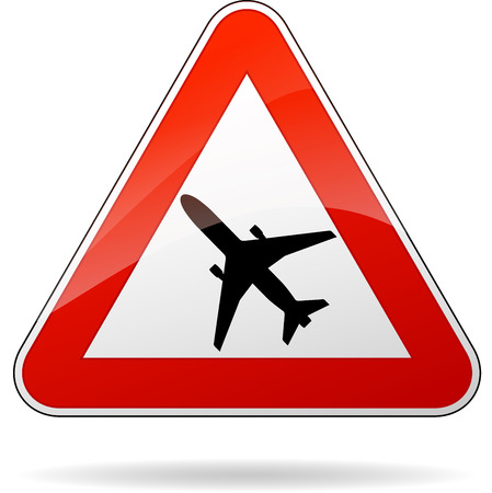 beware: Vector illustration of triangle traffic sign for beware airplane