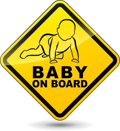 Vektor-Illustration von gelben Baby an Bord Zeichen