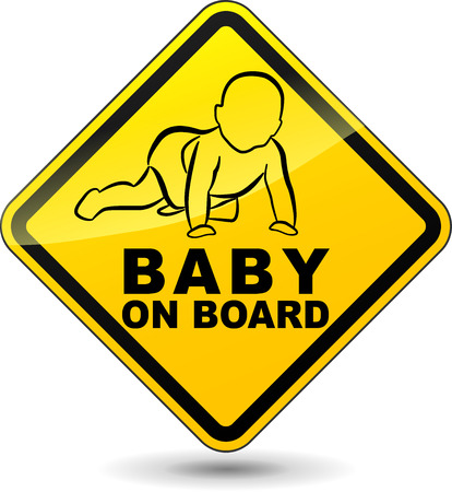 Vector illustration of yellow baby on board sign Illustration
