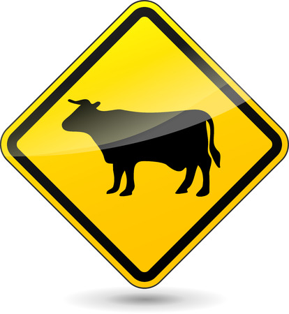Vector illustration of cow yellow sign on white background Vector