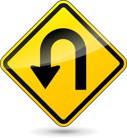 Vector illustration of u-turn yellow sign on white background