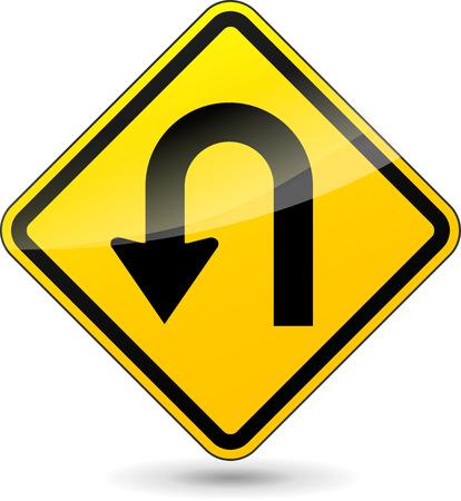 no u turn sign: Vector illustration of u-turn yellow sign on white background