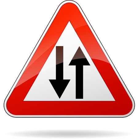 two way: Vector illustration of triangle traffic sign for two way