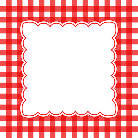 gingham: Vector illustration of red and white gingham concept background