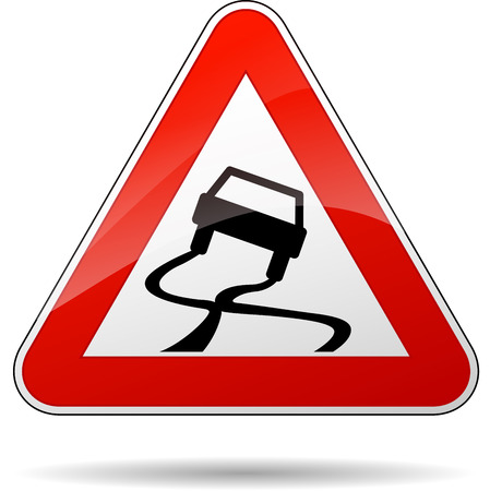 Vector illustration of triangle traffic sign for slippery road Vettoriali