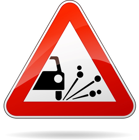 Vector illustration of triangle traffic sign for gravel