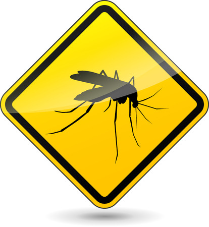 mosquitos: Vector illustration of yellow beware mosquito sign on white background Illustration