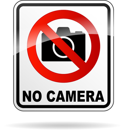 Vector illustration of no camera sign on white background Vector