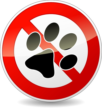Vector illustration of no pets red and white sign Vector