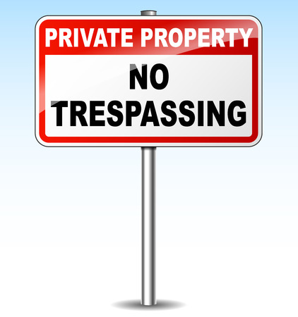 Vector illustration of no trespassing sign for private property