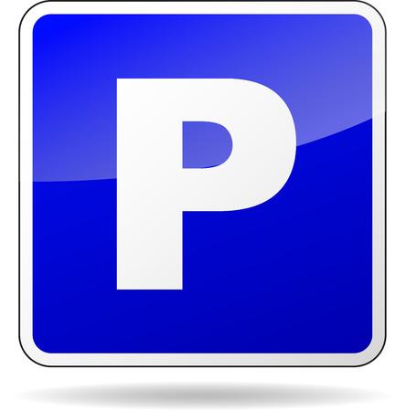 Vector illustration of blue square icon sign for car parking Illustration