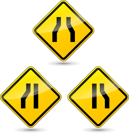 narrow: Vector illustration of narrow road yellow sign on white background
